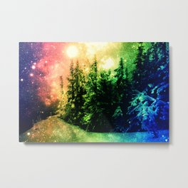 Galaxy Forest Rainbow Snow Metal Print