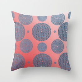 bluemosaictargetcirclesredombre Throw Pillow