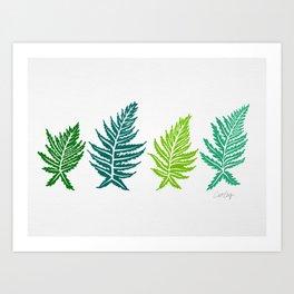 Inked Ferns – Green Palette Art Print