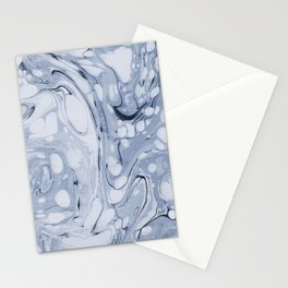 Powder blue water marble Stationery Cards