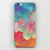 samsung iPhone & iPod Skins featuring Between the Lines - tropical flowers in pink, orange, blue & mint by micklyn