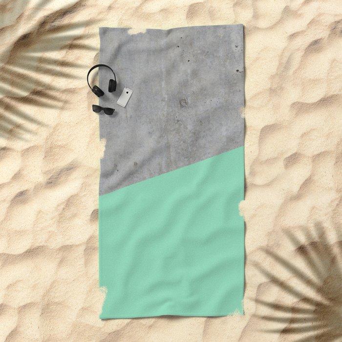 Concrete and Sea Color Beach Towel