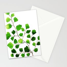 Green watercolor maidenhair fern Stationery Cards