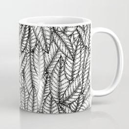 Black and White Botanical Leaf Print with Stick and Poke Style Coffee Mug