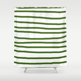 Simply Drawn Stripes In Jungle Green Shower Curtain