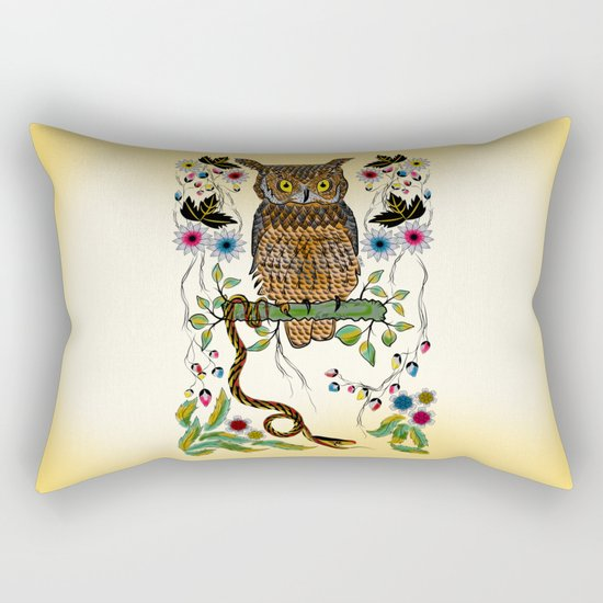 Vibrant Jungle Owl and Snake Rectangular Pillow