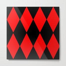 Red And Black Diamonds Metal Print