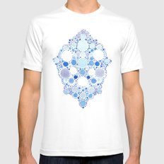 Blue Watercolor Dots Mens Fitted Tee MEDIUM White
