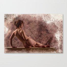 Nude woman watercolor vintage Canvas Print