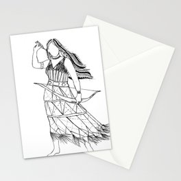 Native American Woman Warrior Illustration Stationery Cards