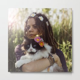 Flower Cat Metal Print