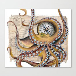 Octopus and Compass Collage Map Canvas Print