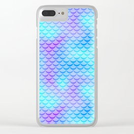 Mint Blue Mermaid Tail Abstraction. Cool Fish Scale Pattern Clear iPhone Case