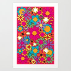 Spring Bouquet Floral in Red Art Print