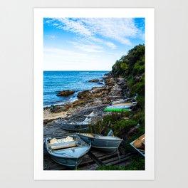 Gordons Bay boats by the shore Art Print
