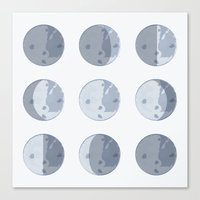 moon phases Canvas Prints featuring Moon Phases by Katie Boland