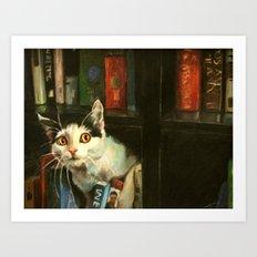 The Writer's Cat Art Print