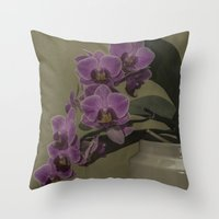 orchid Throw Pillows featuring Orchid by Steve Purnell