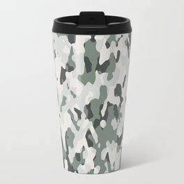 Army Camouflage Pattern Snowy Forest Travel Mug