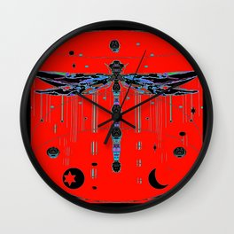 Mystic Warlock Ebony Black and Chinese Red Dragonfly  Patterns Wall Clock