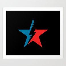 Bowie Star black Art Print