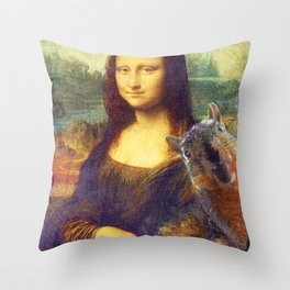 Mona Lisa Squirrel Photo Bomb Pop Art Throw Pillow