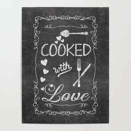 Cooked with Love Retro Chalkboard Sign Poster