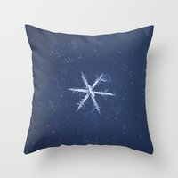 snowflake Throw Pillows featuring Snowflake by LainPhotography
