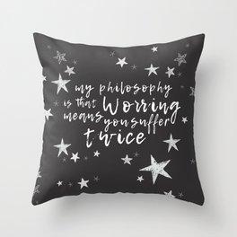 Suffering Twice Throw Pillow