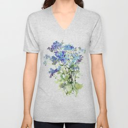 Forget-me-not watercolor aquarelle flowers Unisex V-Neck
