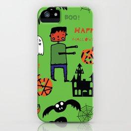 Cute Frankenstein and friends green #halloween iPhone Case