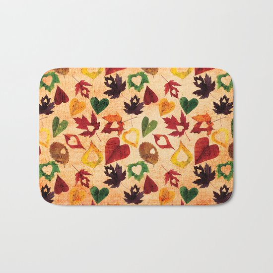 Happy autumn- hearts and leaves pattern Bath Mat