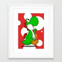 yoshi Framed Art Prints featuring yoshi by Mike E. Shorts