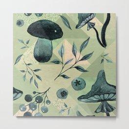 Mushrooms & blueberries pattern muted green tones Metal Print
