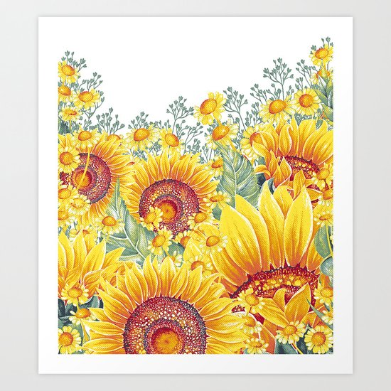 Vintage Garden 15 (Sunflower Field) Art Print