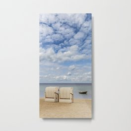 Idyllic Baltic Sea with typical beach chairs Metal Print