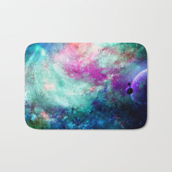 Teal Galaxy Bath Mat