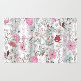 Mauve pink pastel green rustic floral gray stripes Rug