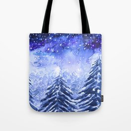 pine forest under galaxy Tote Bag