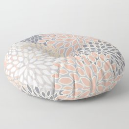 Flowers Abstract Print, Coral, Peach, Gray Floor Pillow