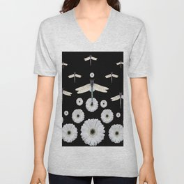 SURREAL WHITE DRAGONFLIES FLOWERS BLACK COLOR PATTERNS Unisex V-Neck