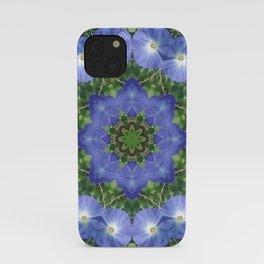 Heavenly Blue Morning Glory mandala 1057 iPhone Case