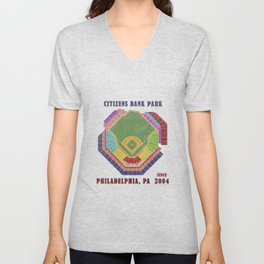Citizens Bank Park Baseball Stadium, Philadelphia, PA Unisex V-Neck