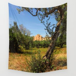 Italy, olive trees and an ancient abbey Wall Tapestry