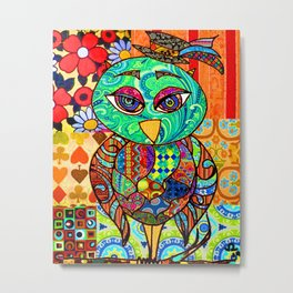 Adorable Patchwork Colorful Owl Metal Print