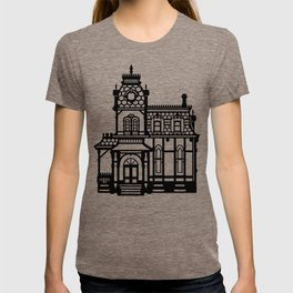 Old Victorian House - black & white T-shirt