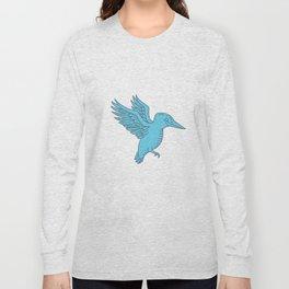 Kingfisher Flying Mono Line Long Sleeve T-shirt