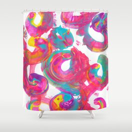 Colorful Abstract of Circles with Vibrant Rainbow Colors Shower Curtain