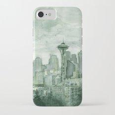 Seattle Skyline Watercolor Space Needle Emerald City 12th Man Art iPhone 7 Slim Case