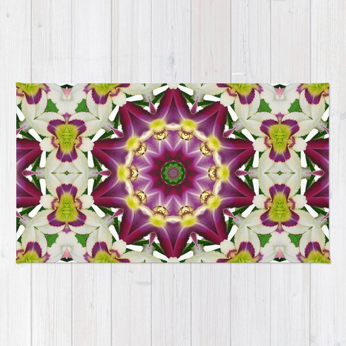 Daylily mandala 1, red-violet, cream and yellow Rug